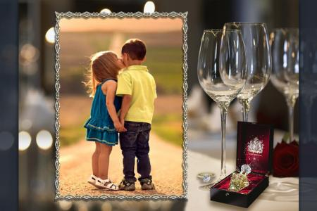 Wine glass photo frame