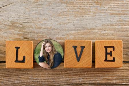 Wood photo frame love