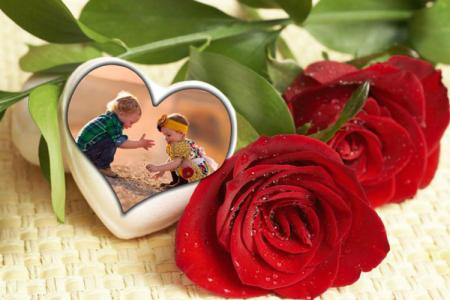 Rose heart photo frame