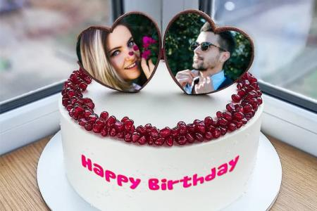 Birthday Cake With Dual Photo Frame For Love