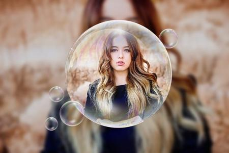 Collage of photos on beautiful sparkling soap bubbles