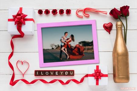 Valentine's day with golden bottle frame photo
