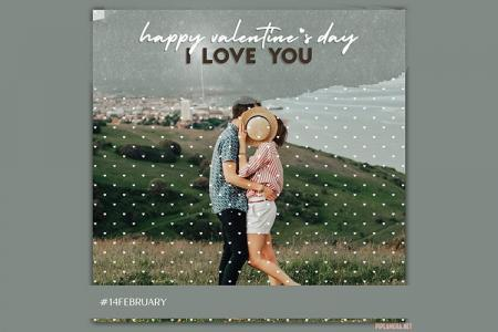 Happy valentine's day photo frame with heart