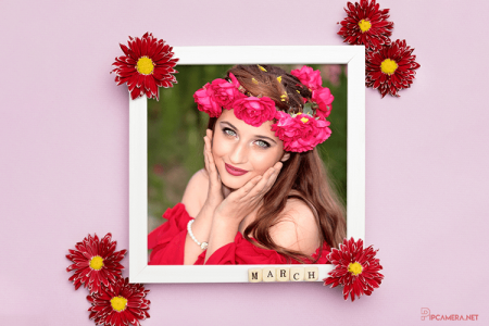 Free floral photo frame online for happy women's day