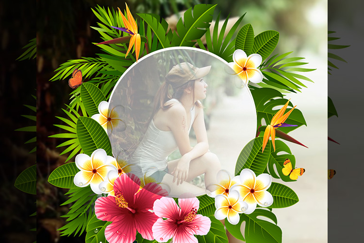 Beautiful flowers photo frame