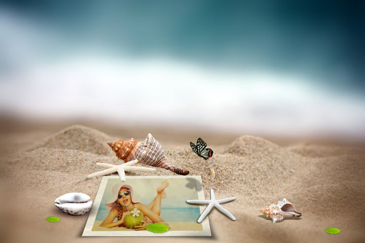 Photo frame on the beach