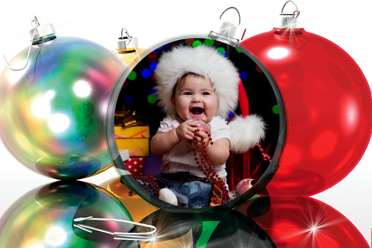 Christmas ball photo frame