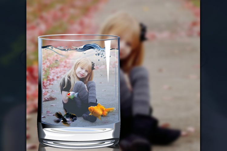 Photo Collage in a glass of water