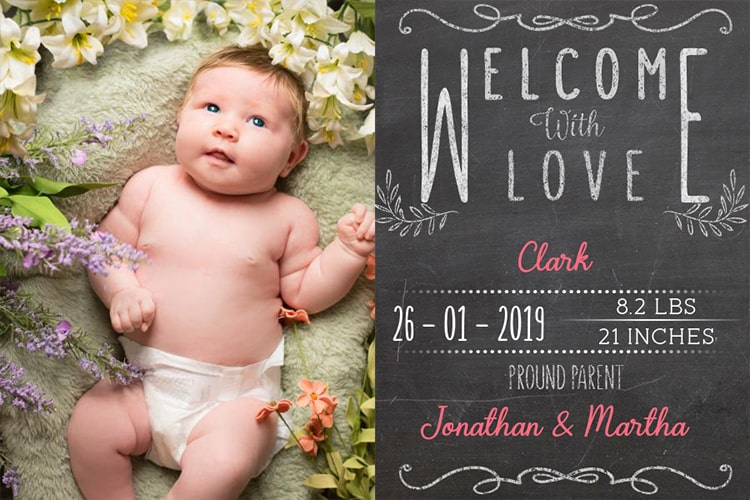 Chalkboard Birth Announcements Photo Frame
