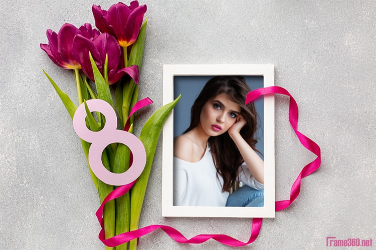 Beautiful flower photo frames online on 8 March